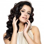 picture of voluptuous  - Beautiful  young woman with beauty long curly hair - JPG
