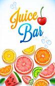 vector illustration juice bar. citrus fruits, watermelon, strawberries and green leaves. summer illu