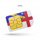 Herm mobile phone sim card with flag.