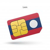 Laos mobile phone sim card with flag.