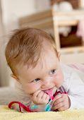 Caucasian Baby With Bib