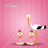 Stork With Twin Girl