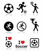 stock photo of offside  - Football black icons set with isolated on white - JPG