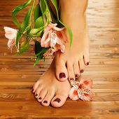 stock photo of pedicure  - Closeup photo of a female feet at spa salon on pedicure procedure  - JPG