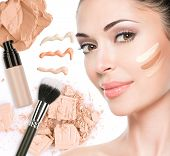 picture of cosmetic products  - Model face of beautiful woman with foundation on skin make - JPG