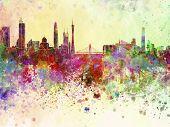 Guangzhou Skyline In Watercolor Background