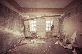 Ruinous Empty Room With Old Wallpapers And Sepia Color Filter
