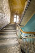 Fish Eye Shoot Of A Very Old Ruinous Staircase