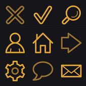 Basic web icons, gold line set