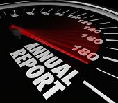 Annual Report Words Speedometer Increase Growth Financial Results