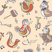 Jazz Concept Wallpaper. Birds Sing And Dancing