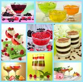 Collage of different tasty jelly