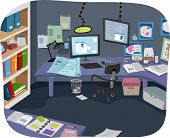 Illustration of an Experiment Room with Plenty of Research Notes Lying Around