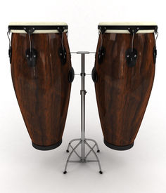 stock photo of congas  - 3d rendering illustration of two conga drums - JPG