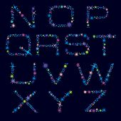 Festive Alphabet Of Bright Color Stars. Character N-z