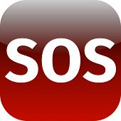 Sos Icon - White Text On Red Background