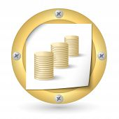 Gold Abstract Icon With Paper And Coin Symbol