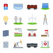 image of hydroelectric  - Energy and electricity icons set with battery hydroelectric plant coal wagon isolated vector illustration - JPG