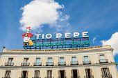 Historical Tio Pepe Sign In La Puerta Del Sol Square In Madrid