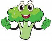 Illustration of a cartoon broccoli