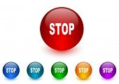 stop internet icons colorful set