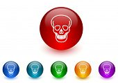 skull internet icons colorful set