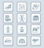 Alpine skiing resort equipment and service icon-set