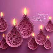 stock photo of jain  - Vector Paper Diwali Diya  - JPG