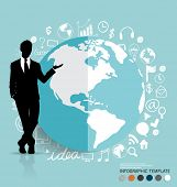 Businessman showing modern globe with application icon, modern template design. Vector illustration.