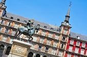 view of Plaza Mayor in Madrid, Spain, with the equestrian statue of King Philip III