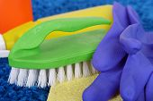 Cleaning items on carpet close up