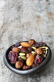 picture of brazil nut  - Trail mix in black bowl - JPG