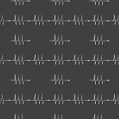 heart rhythm web icon. flat design. Seamless gray pattern.