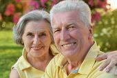 Senior couple outdoor in summer park