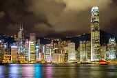 Hong Kong Skyline from Victoria Harbour at night