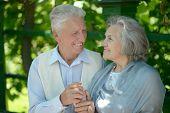 Cute happy senior couple outdoors