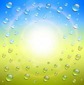 Sunny background, with water drops, vector illustration.