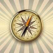 Background with compass on burst background, retro vector design.