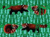 Seamless pattern with fire foxes and bamboo. Hand drawn vector.