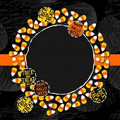 pic of centerpiece  - Halloween candy white yellow orange sweets decorative wreath with halloween badges autumn holiday colorful illustration on dark card centerpiece with blank place for your text on orange ribbon - JPG