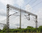 stock photo of transmission lines  - Overhead train line electrical power transmission system - JPG