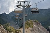 Ski Chairlifts In The Mountains