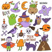 Bright Halloween set in vector. A lot of scary holiday symbols in cute cartoon style