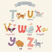 Cute zoo alphabet in vector. T, u, v, w, x, y, z letters. Funny cartoon animals. Tiger, unicorn, vam