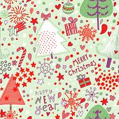 Cute cartoon seamless pattern. Christmas background in vector