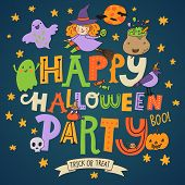 Happy Halloween party - stylish holiday card in vector. Cartoon background in bright colors
