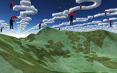 Question clouds over surreal landscape