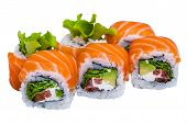 Salmon Sushi Rolls Isolated On White Background