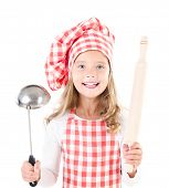 Little Girl In Chef Hat With Ladle And  Rolling Pin