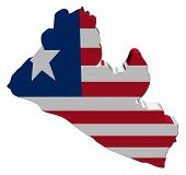 Liberia 3d Map Flag illustration